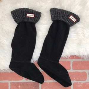 Hunter gray black chunky knit boot socks